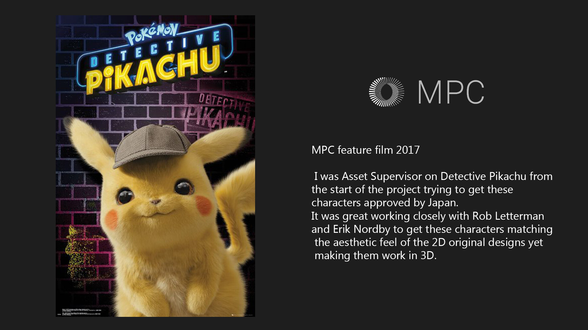 Pikachu - MPC feature film 2017